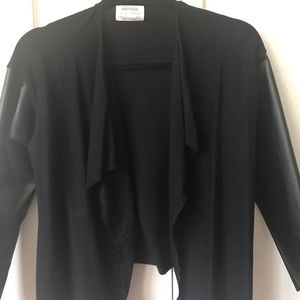 Zara knit light jacket with faux leather sleeves